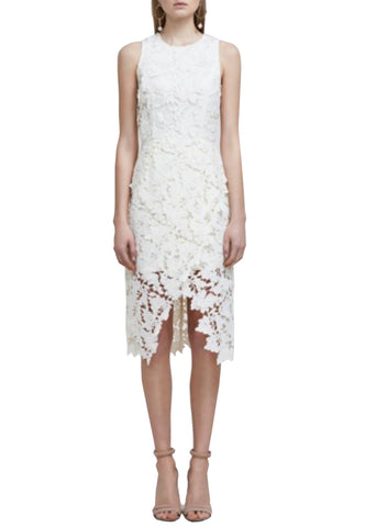 White Azalea Floral Lace Midi Dress