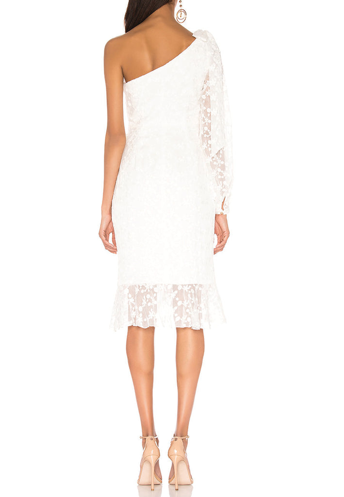 White Retrospect One Shoulder Floral Lace Midi Dress