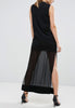Black Northern Lights Beaded Neckline Chiffon Maxi Dress