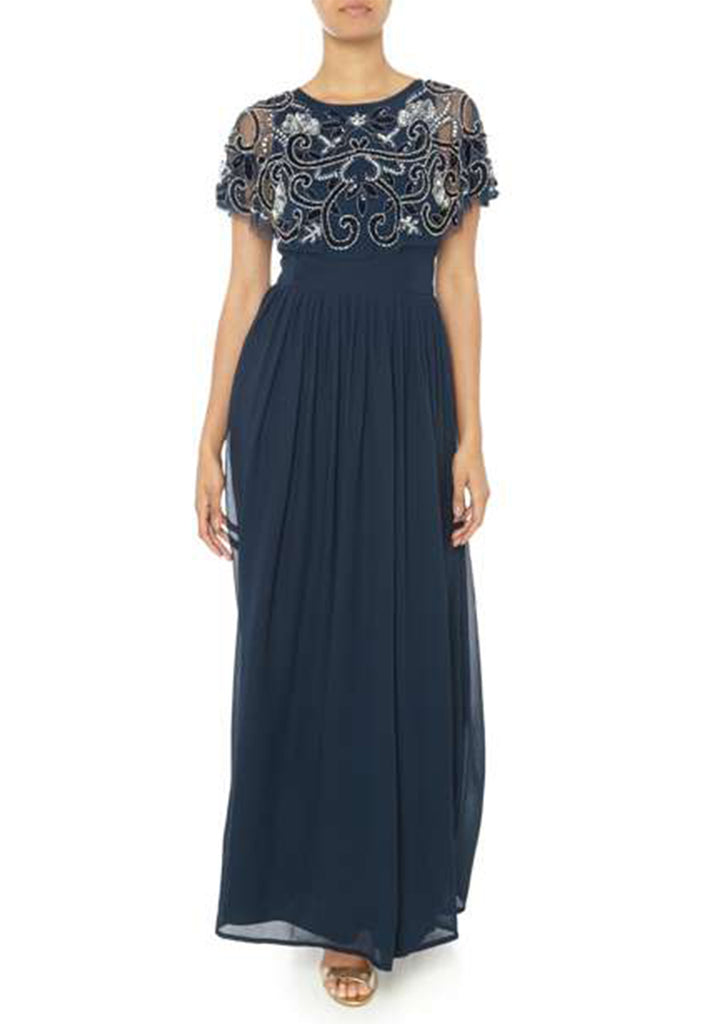 Navy Cape Sequins Gown