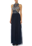 Navy And Gold Sequins Halter Neck Gown