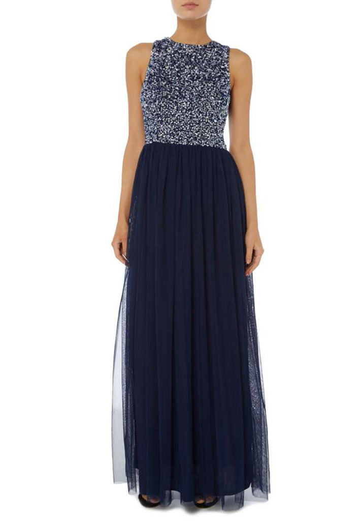 Navy Shiny Sequins Gown