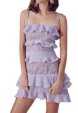 Lilac Cosmic Ruffled Lace Mini Dress