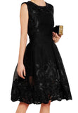 Black Reason Embroidered Honeycomb Dress