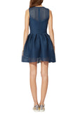 Navy Renazzo Mesh Skater Mini Dress (Size S)
