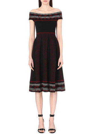 Black Janie Geometric Print Pointelle Dress