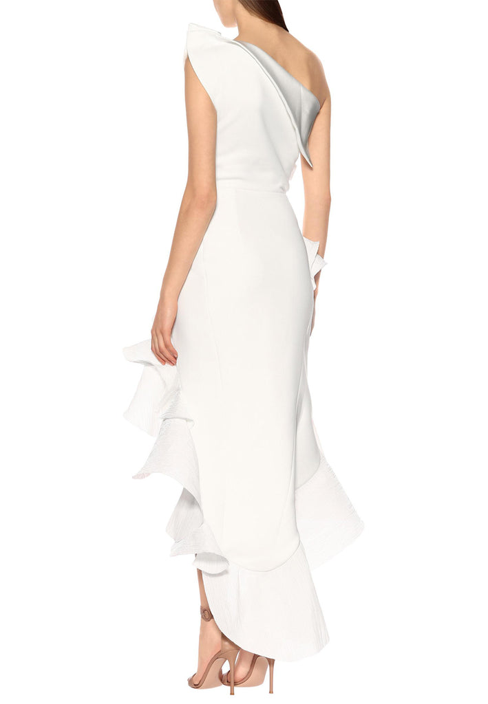 White Flamenco Ruffled Crepe Dress