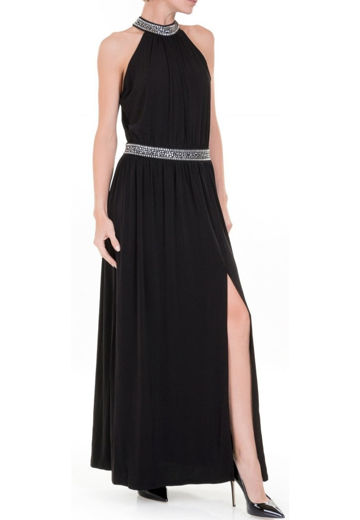 1955e57a560c2c Michael Michael Kors Black Embellished Maxi Dress | Wardrobista.com