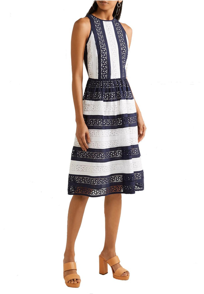 bf10f846afdc Michael Michael Kors White and Blue Striped Two Tone Broderie Anglaise  Dress | Wardrobista.com