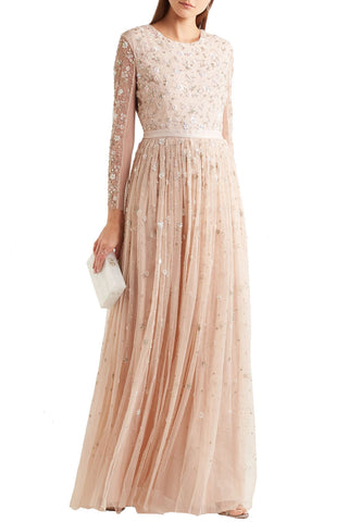 Beige Clover Floral Embroidered Gown