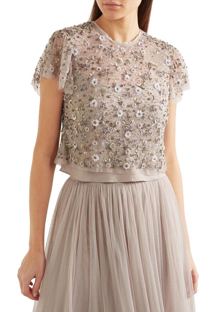 Nude Comet Embellished Tulle Cropped Top and Skirt