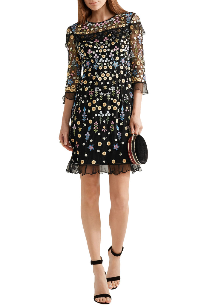 Black Flowerbed Embroidered Tulle Mini Dress
