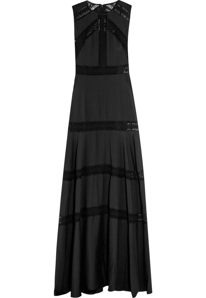 Black Lace Trimmed Chiffon Gown (Pre-loved)
