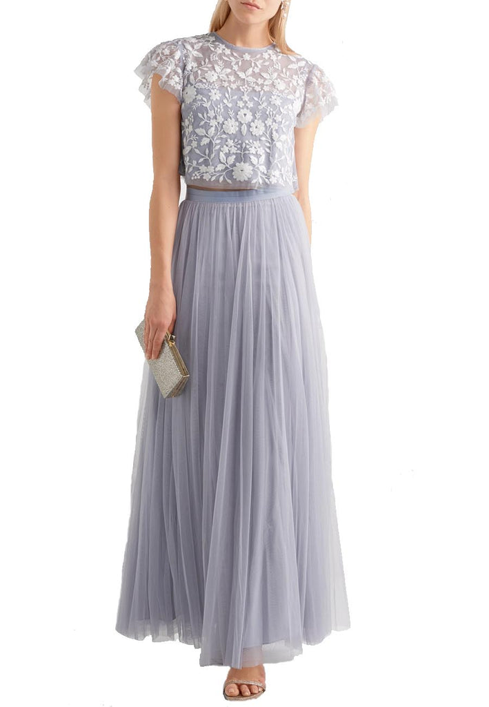Blue Meadow Embroidered Tulle Cropped Top and Skirt