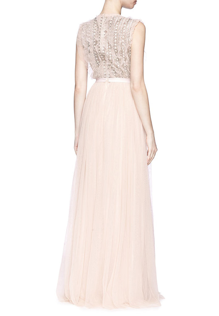 Nude Jet Frill Ruffled Embellished Tulle Gown