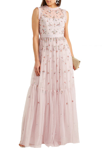 Nude Yoko Ruffled Tiered Polka Dot Silk Organza Gown