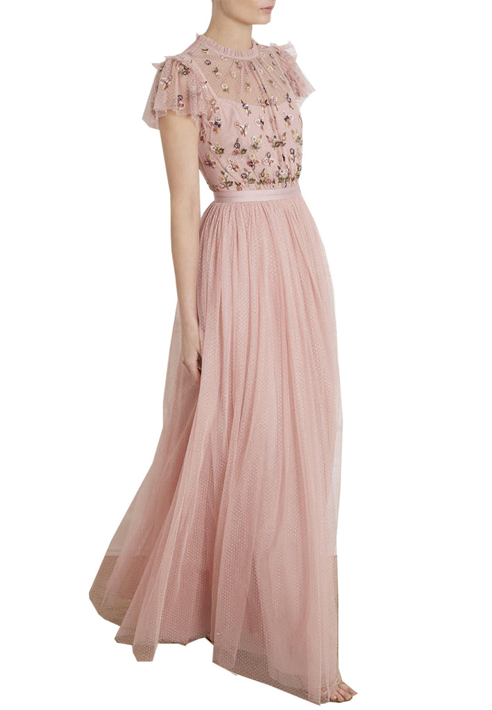 Pink Rococo Floral Embellished Tulle Maxi Dress