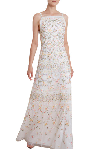 White Taylor Rose Print Ruffled Maxi Dress