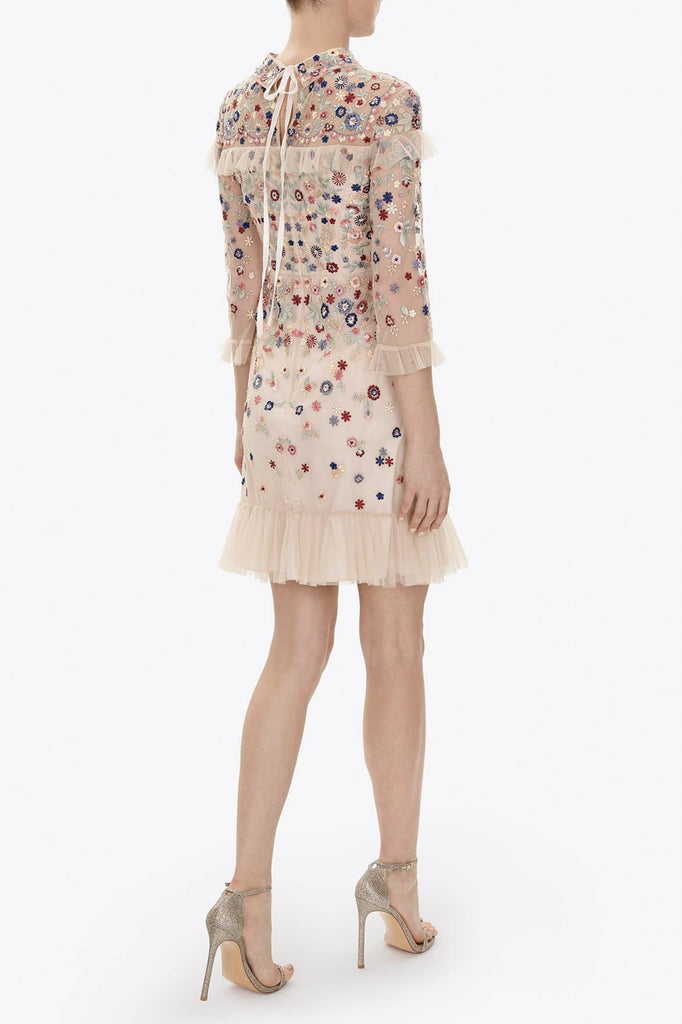 Nude Posy Floral Tulle Midi Dress