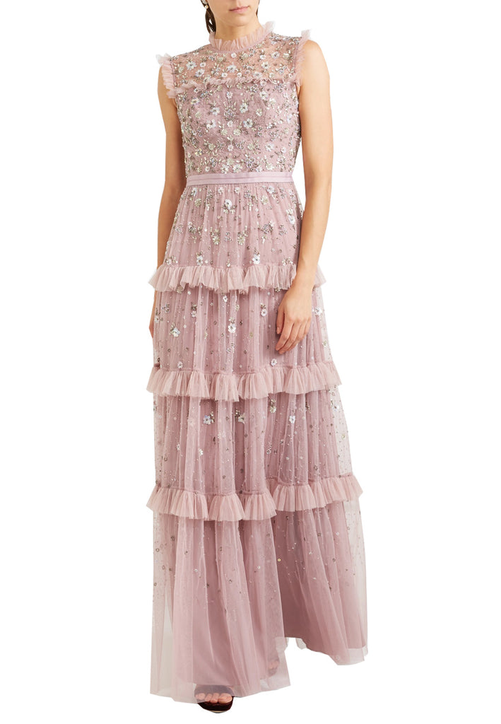 Lilac Twilight All Over Embellished Floral Tulle Gown