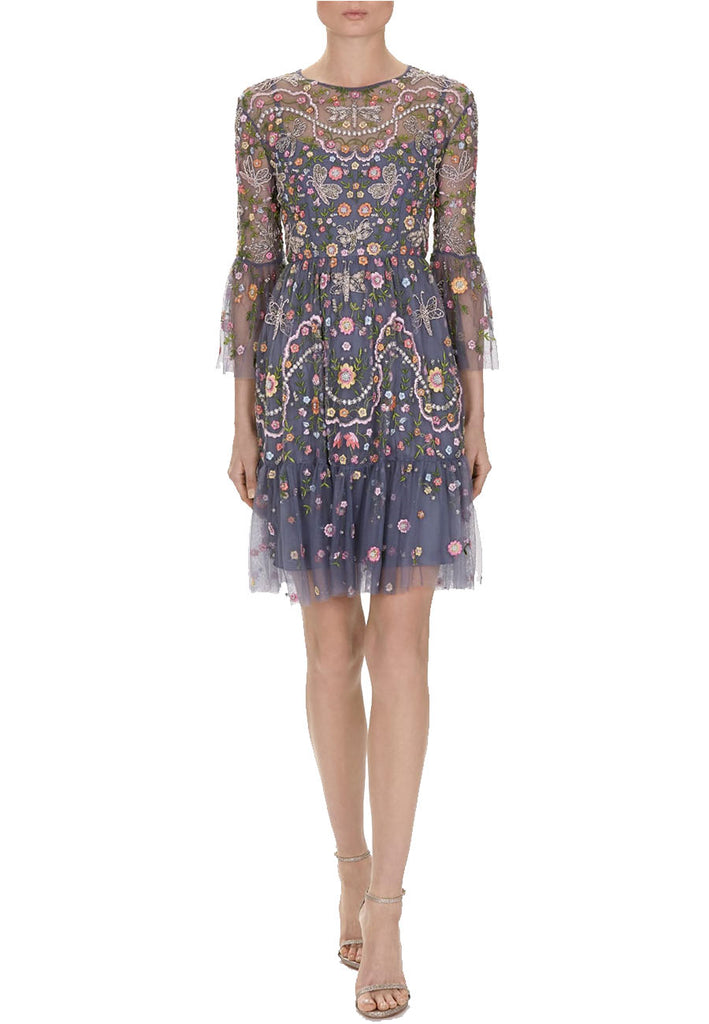 Blue Dragonfly Garden Embellished Embroidered Tulle Mini Dress