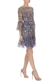 Blue Dragonfly Garden Embellished Embroidered Tulle Mini Dress (UK 8)