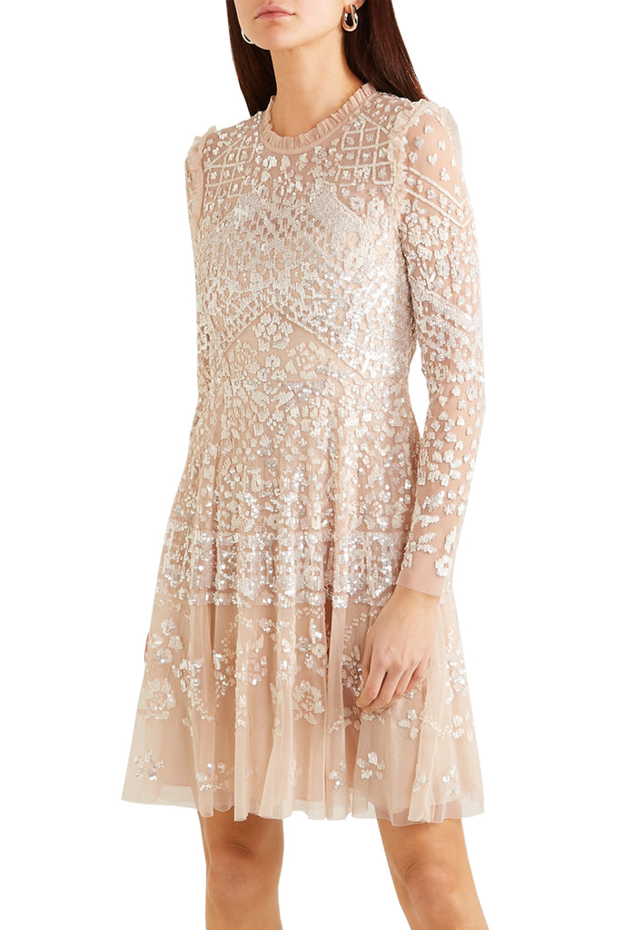Nude Aurora Embellished Sequins Midi Dress