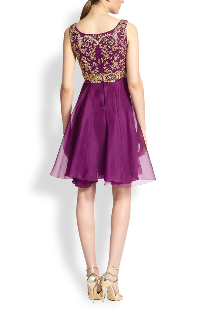 Purple Gold Embroidered Silk Organza Mini Dress