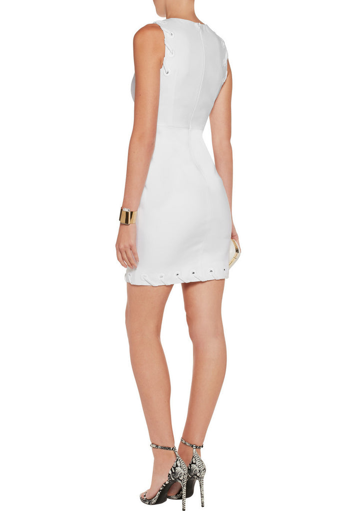 White Anise Whipstitched Stretchy Mini Dress