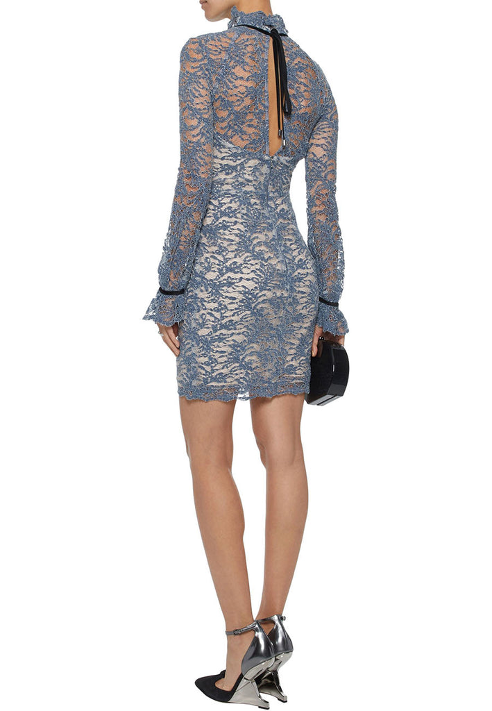 Blue Alexa Long Sleeves Corded Lace Mini Dress