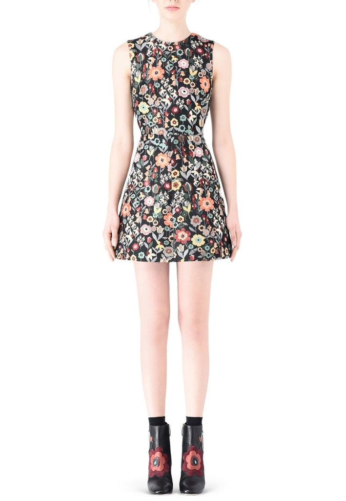 126d0033a3b RED Valentino Black Floral Jacquard Fancy Flower Mini Dress ...