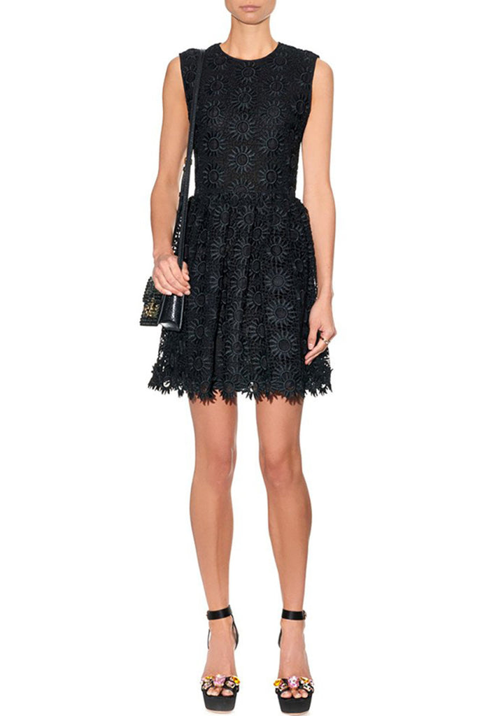 Black Daisy Lace Mini Dress