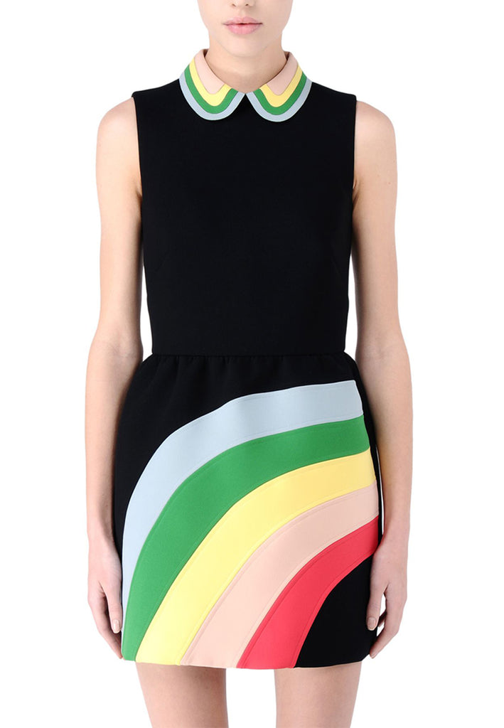 Black Rainbow Intarsia Mini Dress