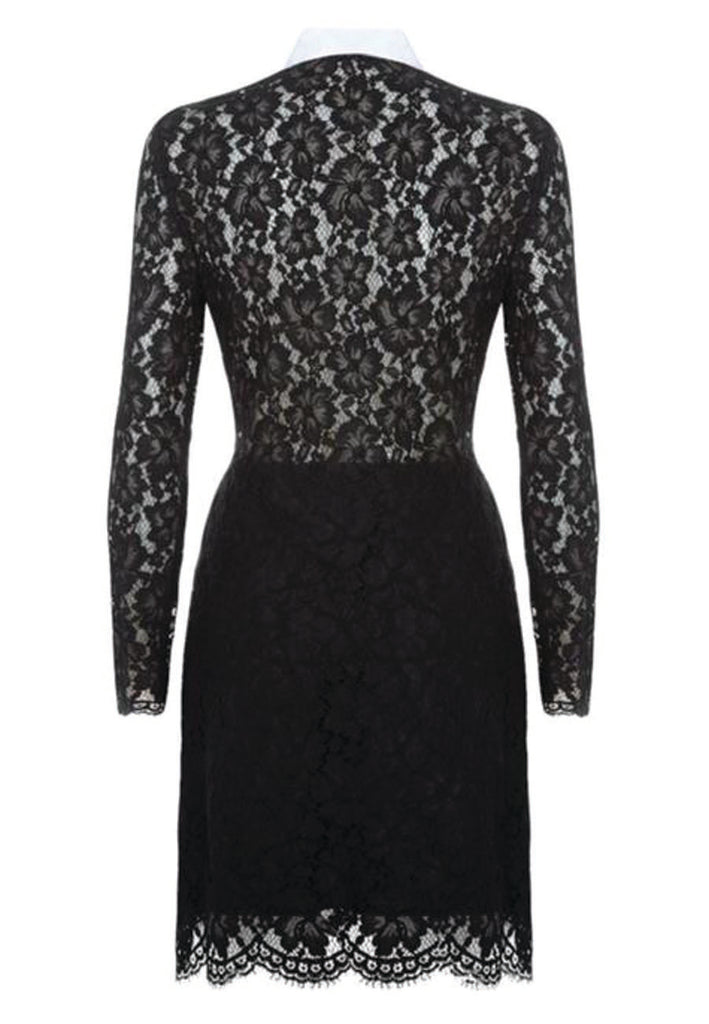 Black Janie All Over Lace with White Collar Mini Dress