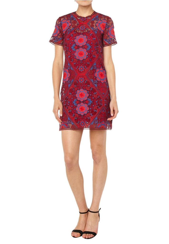 ... Red Lys Geometric Lace Mini Dress ...
