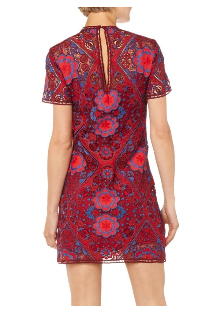 Red Lys Geometric Lace Mini Dress ­