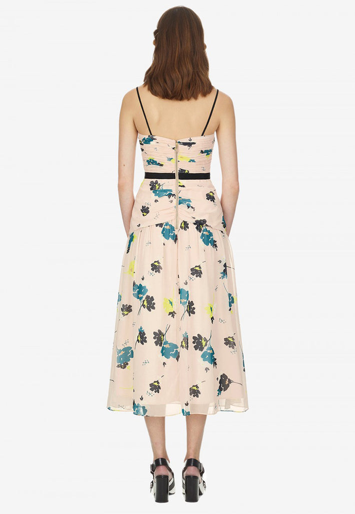 Nude Floral Print Chiffon with Front Tie Midi Dress