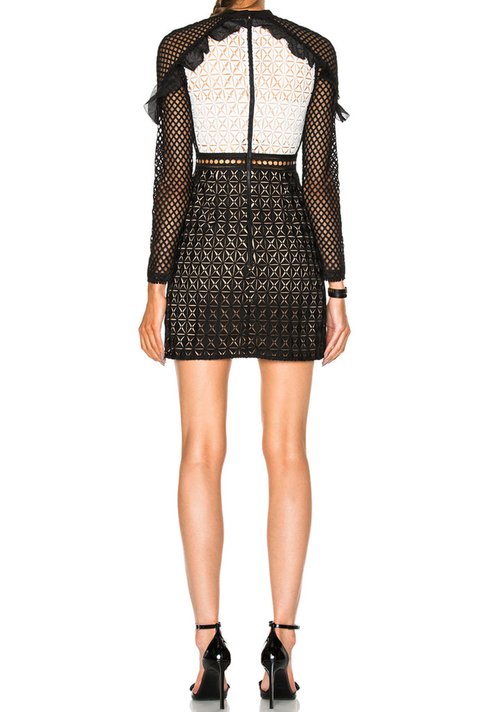 White Monochrome Geometric Lace Mini Dress