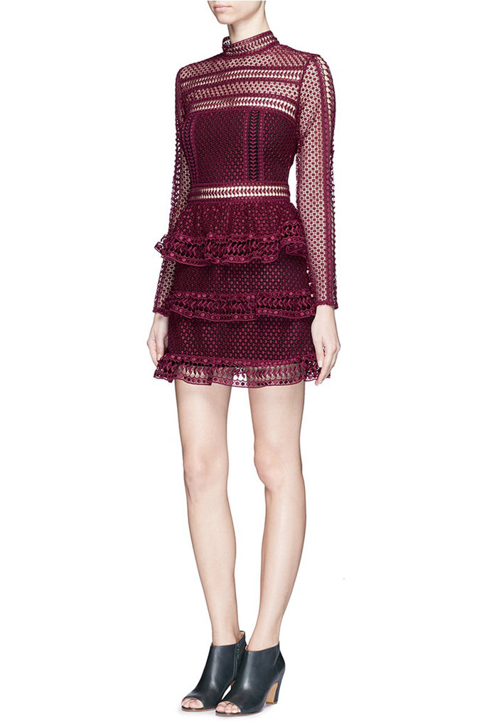 Burgundy Tiered Lace Long Sleeve Mini Dress