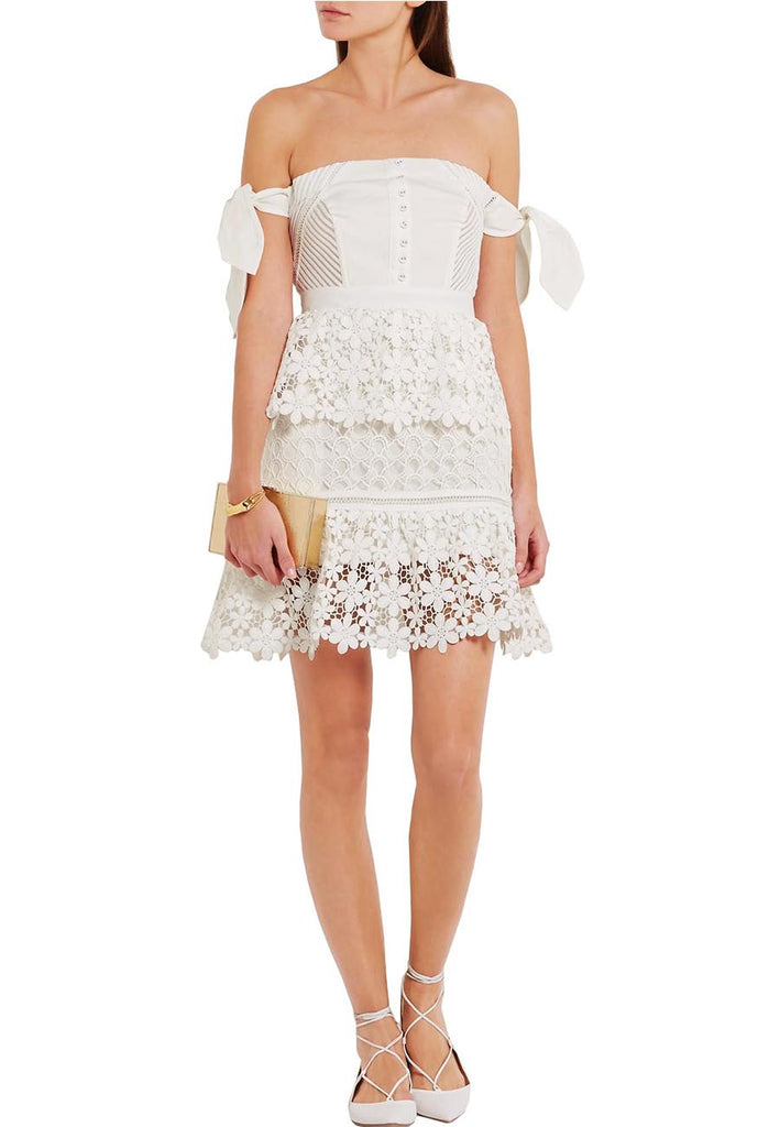 60e560e4a765 Self Portrait White Off Shoulder Guipure Lace Mini Dress ...