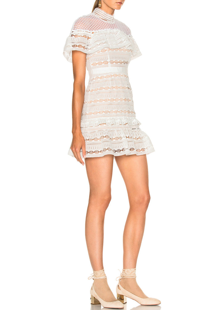 White Ruffled Lace Mini Dress