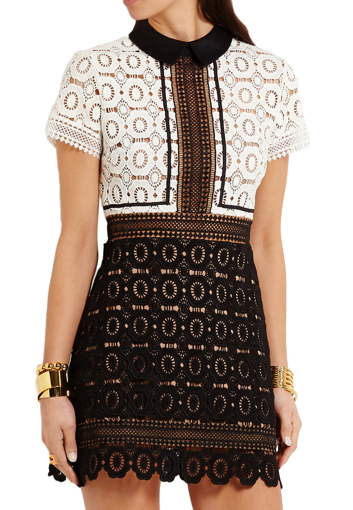 White Felicia Short Sleeves Lace Mini Dress