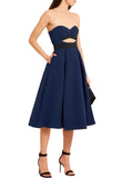 Navy Lulu Cutout Midi Dress