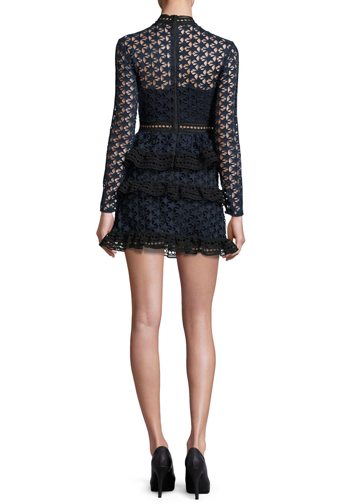Black and Navy Star Lace Long Sleeve Mini Dress