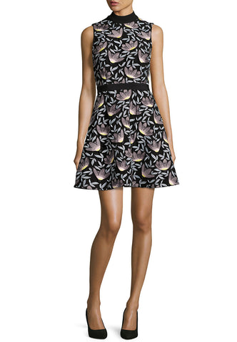 Black Becca Pouf Floral Embroidered Mini Dress
