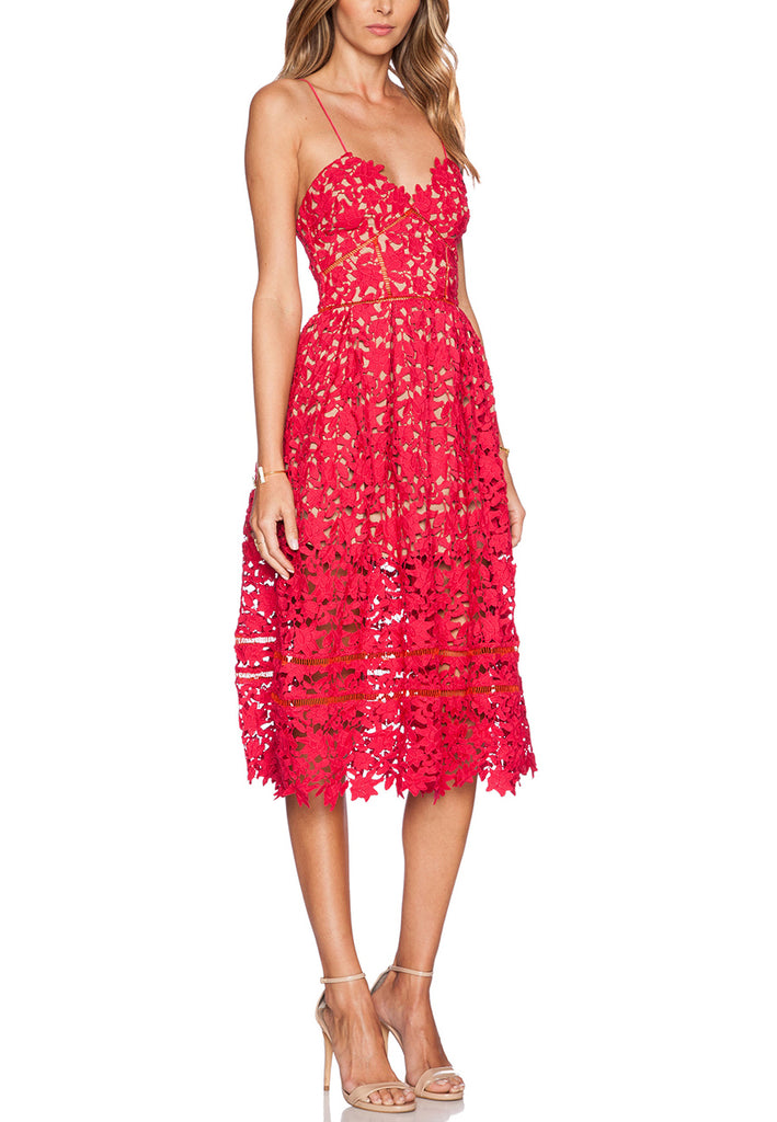 Red Azalea Floral Lace Midi Dress