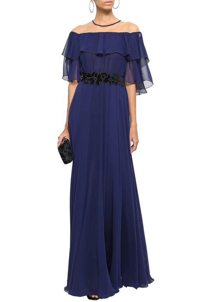 Navy Noemie Cape Chiffon Gown