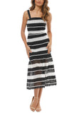 White and Black Darling One Striped Mesh Dress