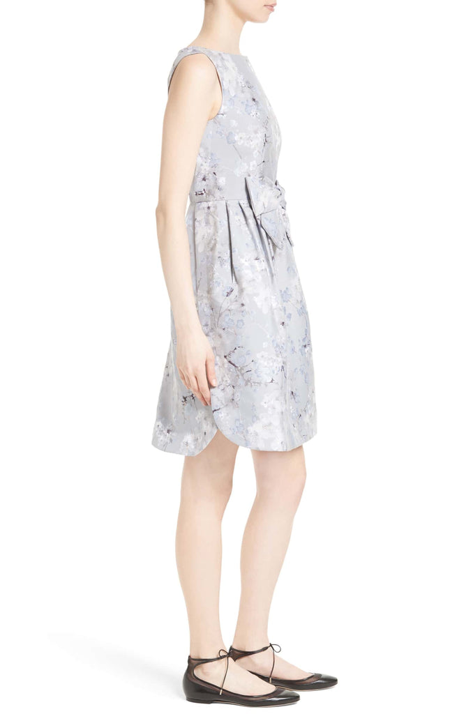 Silver Quett Floral Brocade With Bow Mini Dress