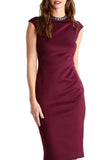 Burgundy Cadyee High Neck Embellished Sheath Dress